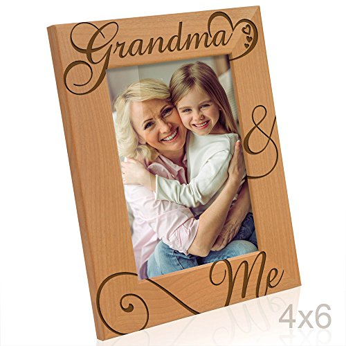 Kate Posh - Grandma & Me Natural Wood Picture Frame - I love You Grandma Gift, Grandma Gifts, Grandparent's Day Gifts, Best Grandma Ever Gifts, Grandmother Gifts, Christmas Gifts (4x6-Vertical)