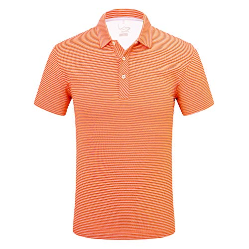 (EAGEGOF Regular Fit Men's Shirt Stretch Tech Performance Golf Polo Shirt Short Sleeve S Stripes Orange)