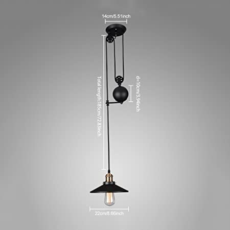 WINSOON American Country Style Pulley Droplight Antique Retro Iron Pendant Ceiling Lighting Adjustable Wire Lamps 1 Head