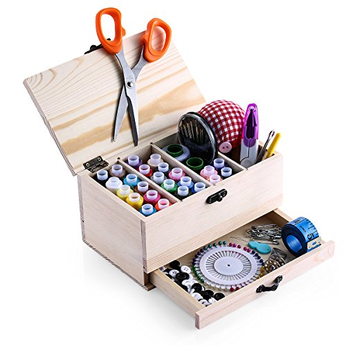 Wooden Sewing Basket Sewing Box Sewing Accessories Kit Good for Adults/Kids/Girls/Beginner/Professional