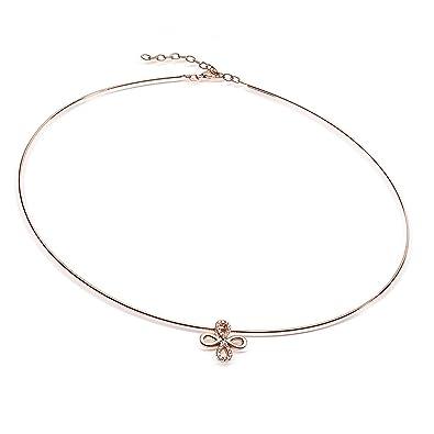 91861c4595b2 Collier Materia Omega Argent Or Rose avec trèfle pendentif 925 et Zirconium  42–47 cm