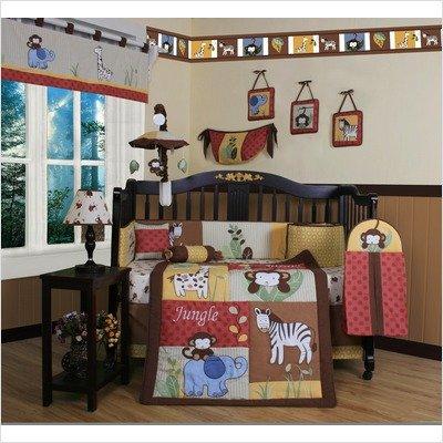 Border Baby Bedding (GEENNY Boutique Crib Bedding Set, Beautiful Amazon Jungle Animals, 13 Piece)