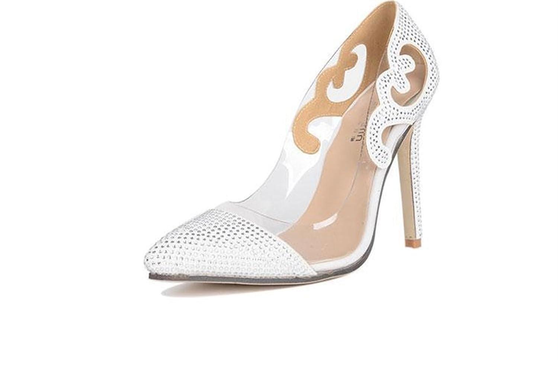 Xianshu Transparente Glas Kleber Spitze Diamant Schuhe spitze High Heel Schuhe(Weiß-39) ej8XD