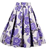 #4: Dressever Women's Vintage A-line Printed Pleated Flared Midi Skirts