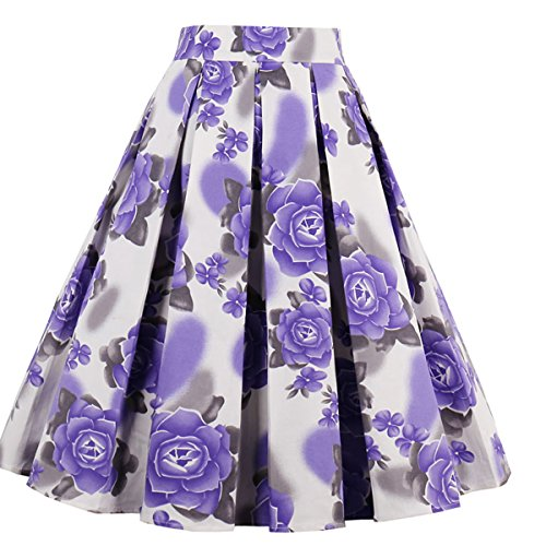 Dressever Women's Vintage A-line Printed Pleated Flared Midi Skirts Purple Flower Small