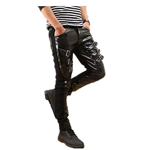 Amazon Com Into Mens Fashion Faux Leather Punk Pants Buckles Hip