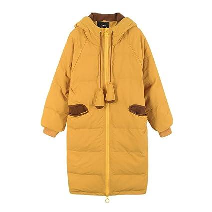 NZ Chaqueta Larga de Color Amarillo Sobre la Rodilla Chaqueta de Abrigo con Capucha de algodón