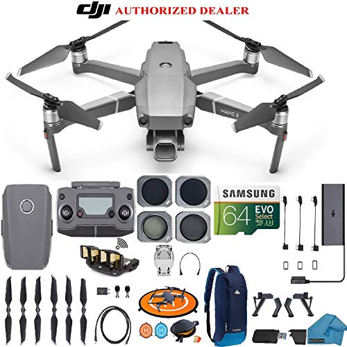 DJI Mavic 2 PRO Drone Quadcopter, with ND, Cpl Lens Filters, Backpack, 64GB SD Card, with Hasselblad Video Camera Gimbal Bundle Kit with Must Have Accessories