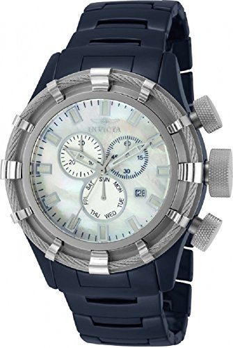 Invicta 13845 Men's Bolt Swiss Quartz Chronograph Mother of Pearl Blue Ceramic Watch (Pearl Blue Of Mother Chronograph)