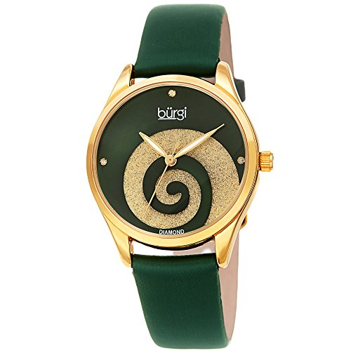 Burgi Women's Watch with Diamond Markers - Sunray Dial with Sparkling Crystal Powder Swirl - Green Satin Over Genuine Leather Skinny Strap - BUR201GN