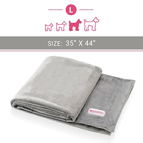 "Petlo Soft Fleece Dog and Pet Blanket - Extra Comfortable Reversible Velour and Short Plush Fabric Protects Furniture and Beds - Machine Washable and Pill Resistant - 35"" X 44"" - By"