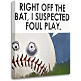"TORASS Canvas Wall Art Print Sports Baseball Cartoon Little League Tball Mom Artwork for Home Decor 12"" x 16"""