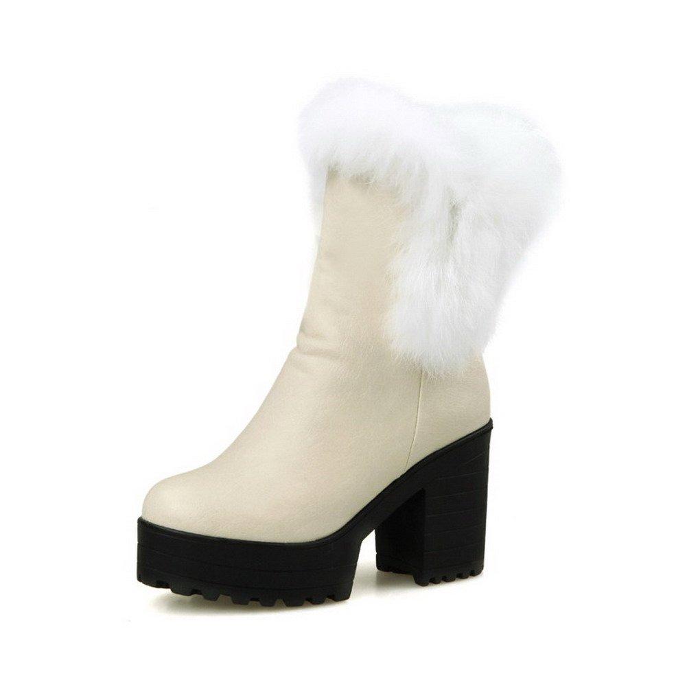 VogueZone009 Damen Ziehen auf Hoher Absatz PU Leder Rein Niedrig-Spitze Stiefel Cremefarben