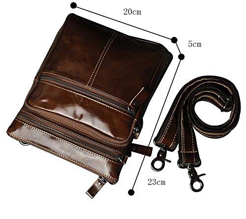 Genda 2Archer Bolso de Cuero de la Cintura del Bolso de Fanny del Bolso de Hombro de los Hombres (20cm * 5cm * 23cm) (Marrón) Marrón