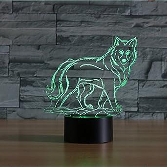 3D der Wolf Optische Illusions-Lampen Tolle 7 Farbwechsel Acryl ber/ühren Tabelle Schreibtisch-Nachtlicht mit USB-Kabel f/ür Kinder Schlafzimmer Geburtstagsgeschenke Geschenk