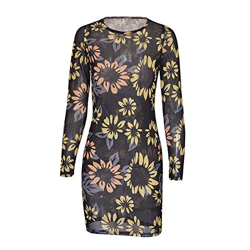 ROPALIA Women's Tulle Dress Long Sleeve Printed mesh Slim Sexy Dress