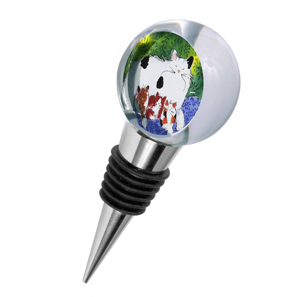 Crystal Wine Stopper - Maine Coon Kitty Family Mama and Three Kittens Abstract Cat Art by Denise Every
