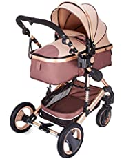 VEVOR Baby Strollers 2 in 1 Portable Infant Baby Carriage Travel System High View Baby Pram Anti Shock Springs Pushchair Pram Buggy Jogger Stroller(Rose Gold)