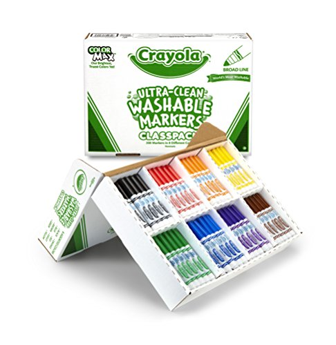 Crayola Ultra Clean Washable Markers Bulk, 200 Count Classpack, 8 Assorted Colors