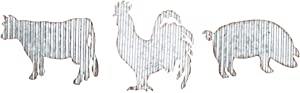 HAPPY DEALS ~ Corrugated Metal Rooster Pig Cow - Set of 3 Farm Style Wall Decor