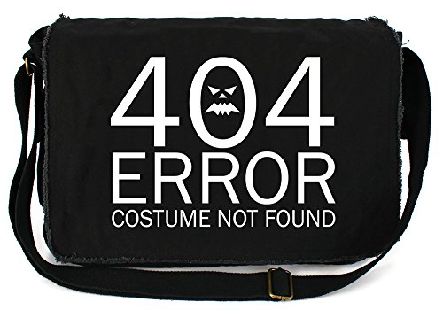 [Dancing Participle 404 Error Costume Not Found Black Raw Edge Canvas Messenger Bag] (Fandom Halloween Costumes)