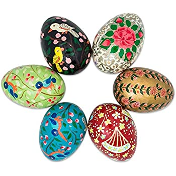 3 Set Of 6 Flowers And Birds Wooden Pysanky Ukrainian Easter Eggs
