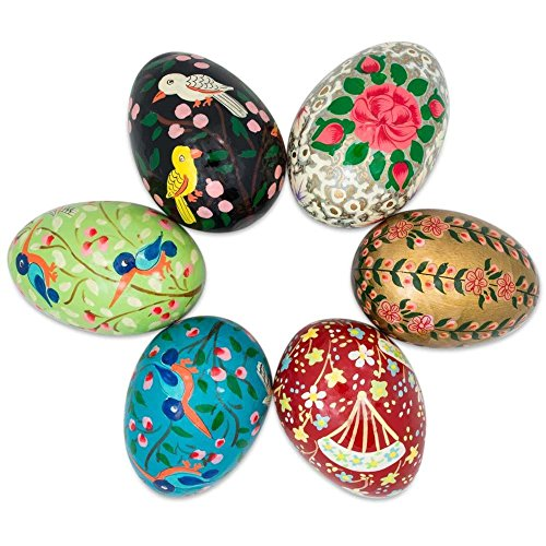 Decorated Easter Eggs (Set of 6 Flowers and Birds Wooden Pysanky Ukrainian Easter)