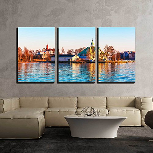 Scenic Spring Evening Sea Sunset in the Harbor of the Old Town of Helsinki Finland x3 Panels