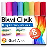 Blami Arts Chalk Markers Reversible Tip for Non-Porous Chalkboard and Bistro Glass Windows - 8 Pack Erasable Neon Bright Non-Toxic Liquid Ink Pens with Bright Vivid Paint - Eraser Sponge included