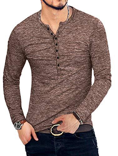 KUYIGO Mens Casual Slim Fit Basic Henley Long Sleeve T-Shirt (Small, Long Sleeve Coffee)