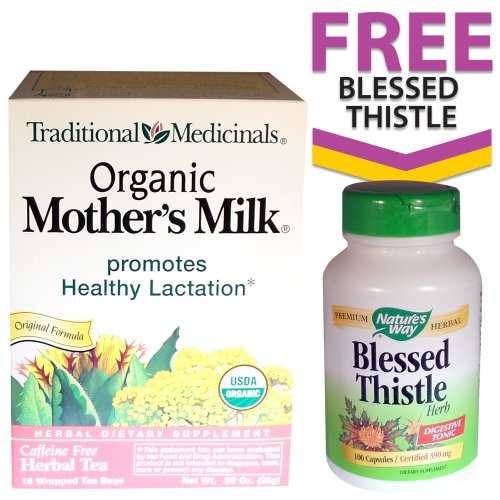 Organic Mother's Milk Tea + FREE Nature's Way Blessed Thistle (100 Capsules)