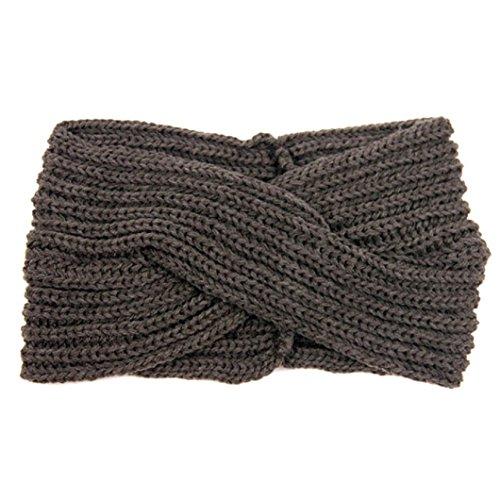 DZT1968(TM) Women Woolen Knit Turban Knotted Headband Head Wrap Hair Band For Sports Bath Make Up (C)