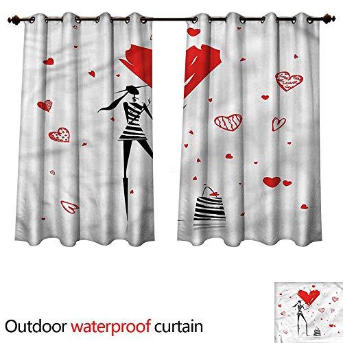 cobeDecor Girls Outdoor Curtains for Patio Sheer Urban Lady High Heels Heart W72 x L63(183cm x 160cm) -