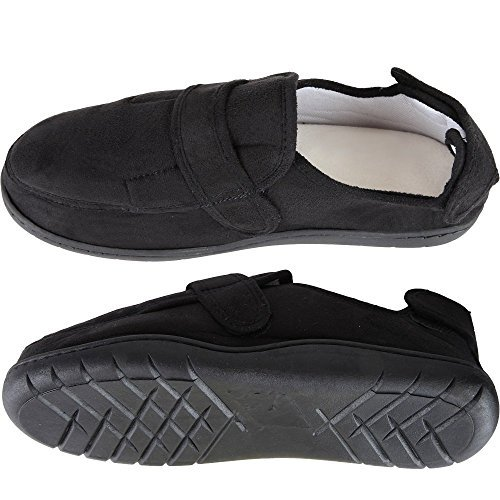 Home-X Adjustable Memory Foam Slippers - Black (X-Large (Mens 10