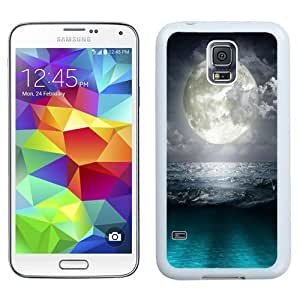 NEW Unique Custom Designed Samsung Galaxy S5 I9600 G900a G900v G900p G900t G900w Phone Case With Super Moon Blue Ocean_White Phone Case