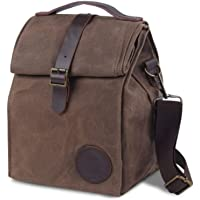Insulated Waxed Canvas Lunch Bag by ASEBBO 10L Lunch Box for Women, Men with Genuine Leather Handle and Strong Buckle…