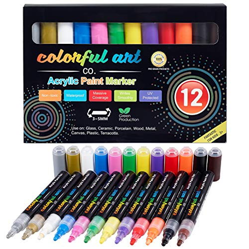 (Paint Pens - 12 Premium Acrylic Paint Pens & Rock Painting Kit for Painting Rocks, Pebbles, Glass, Ceramic, Wood, Porcelain Permanent Water Based Waterproof Paint Marker Pens with 3-5mm Reversible Tip )