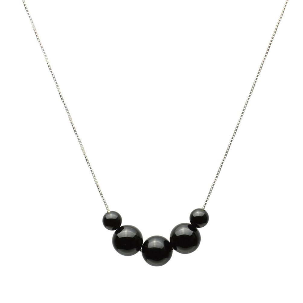 Black Onyx Stone Station Box Sterling Silver Chain Necklace 20''+2''