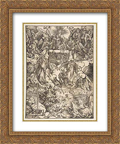 Albrecht Durer - 28x36 Gold Ornate Frame and Double Matted Museum Art Print - The Seven Angels with The Trumpets, from The Apocalypse, Latin Edition, 1511