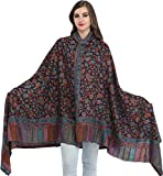 Exotic India Multicolor Kani Jamawar Shawl with Woven P - Color Phantom Black