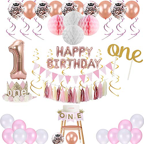1st Birthday Girl Decorations Princess Theme - 85 Piece First Birthday Decorations Girl Kit Pink/White/Rose Gold. Premium Quality, 2018 by -