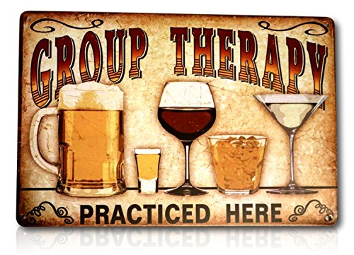 Group Therapy Practiced Here Sign - Beer Alcohol Shot Wine Whiskey Martini Vintage Retro Tin Pub Metal Tin Wall Signs Size: 8x12 Inches ()