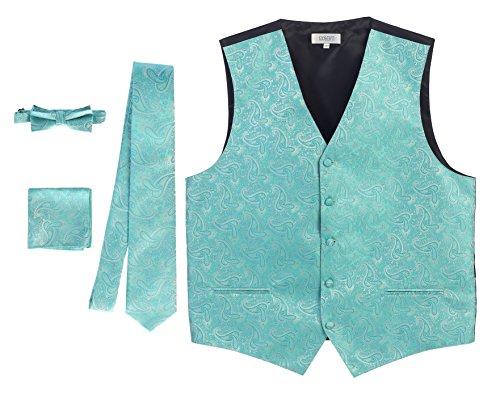 (Gioberti Men's Formal 4pc Paisley Vest Necktie Bowtie and Pocket Square, Mint, 2X)