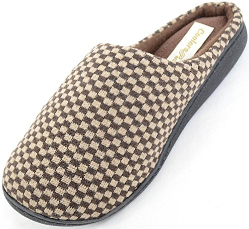 Mens Microsuede Slip On Mules / Slippers with Micro Fleece Lining and Checked Design Brown