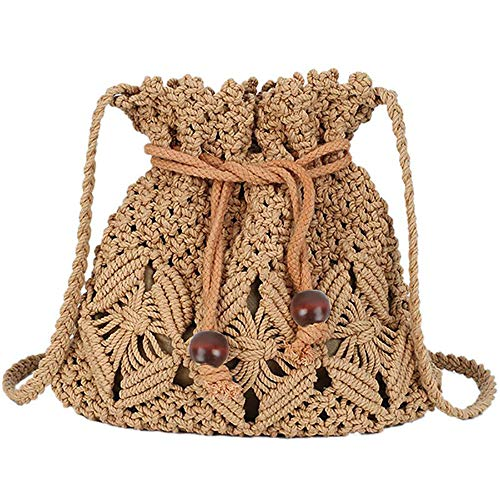 HIKEL Women Bucket Woven Bag Straw Shoulder Bag Drawstring Hobo Beach Travel Bag, Crossbody Bag Lady Small Bags -