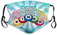 BOKUTTc3,Decorative mouth mask,Colorful Illustration of Bingo Cards and Balls on Blue Sun Rays Retro Style Adj