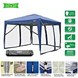 VINGLI 10'x10' EZ Pop Up Canopy Tent with 4 Matching Removable Mesh Wall Panels, Folding Instant Sun Shade Shelter Outdoor Commercial Wedding Party Gazebo Canopy W/Roller Carry Bag Blue Review