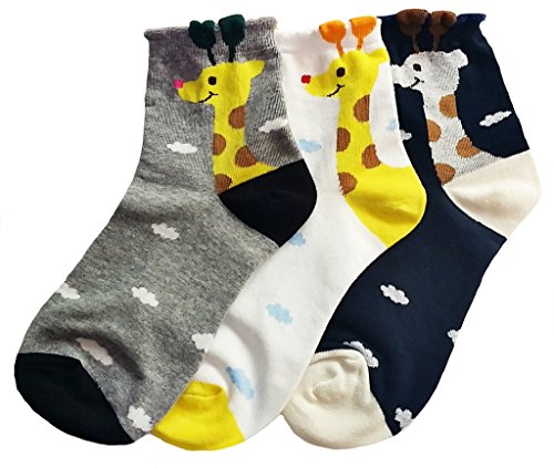 JJMax Women's Sweet Animal Cotton Blend Socks Set, Giraffe Set, One Size -