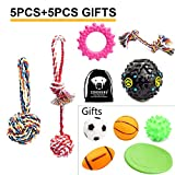SZKOKUHO 5+5 Pack Puppy Dog Chew Toys Set—Dog Ropes,Puppy Squeaky Toys,Puppy Chew Toys,Dog Toy Balls,Dog Flying Discs,for Small to Some Medium Dogs (10 Pack)