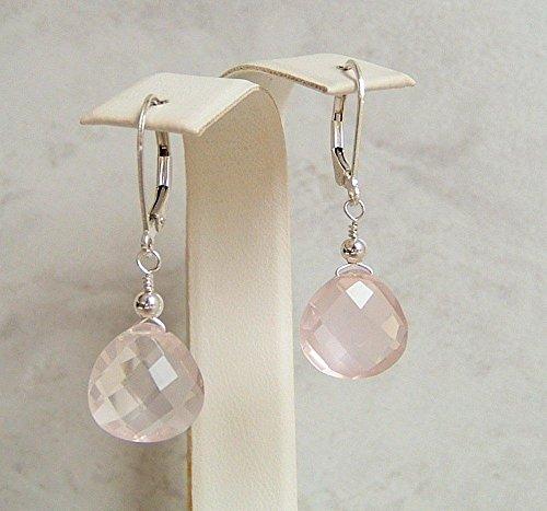 Rose Earrings Bead Quartz (Light Pink Rose Quartz Teardrop Briolette Sterling Silver Leverback Earrings Gift Idea)
